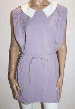 Unbranded Purple White Peter Pan Collar Tunic Dress Size XS BNWT #SM106