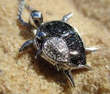 Sterling Sea Turtle Mom & Baby Necklace, Zircon & 925 Silver FREE GIFT BOX!