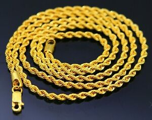"""24"""" 22K 22CT GOLD CUSTOMIZED ROPE CHAIN NECKLACE 2.7MM HALLMARK JEWELRY ch175"""