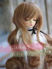 "8-9-10"" 1/3 BJD Light Brown Curly Wavy Long Wig LUTS Doll SD DZ DOD MSD Hair #AL"