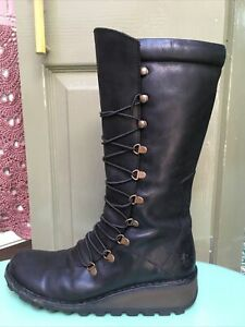 Fly London Laced Black Wedge Boots Size 40/ 6.5