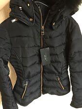 ZARA Navy Quilted Anorak Coat Fur Hood Collar Gold Zip Puffer Jacket Small S