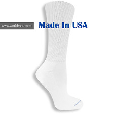 BEST QUALITY 6 PAIR WHITE MEN'S DIABETIC CREW SOCKS KING SIZE 13-15(MADE IN USA)