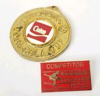 1985 Coca Cola Lapel Pin Medal Snow Skiing Event Competitor Colorado Coke Skier