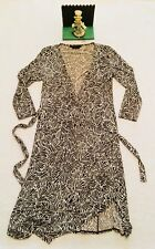 BCBG Maxazria Wrap Dress Womens XS V Neck Stretch 3/4 Sleeve Brown Beige