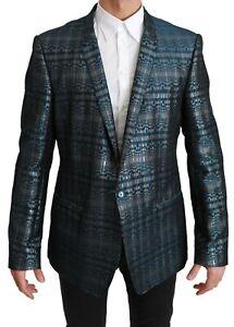 DOLCE & GABBANA Blazer Blue Gray Shiny GOLD Logo Jacket IT56/US46/2XL
