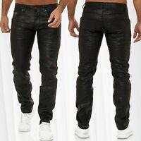 Herren Jeans Beschichtet Hose Gewachst Baumwolle Coated Biker Leder Optik Waxed