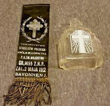 Art Deco Glass Holy Water Bottle & Memorial ZPN Polish Ribbon Death Relic Set