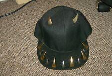 NEW BLACK CAP HAT (HORNS + TEETH, SILVER & GOLD COLORS)
