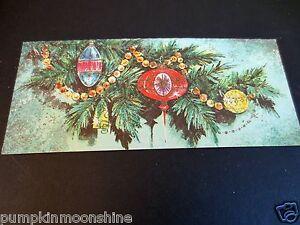 # J800- Vintage Glitter Christmas Greeting Card Pretty Glass Ornaments & Beads