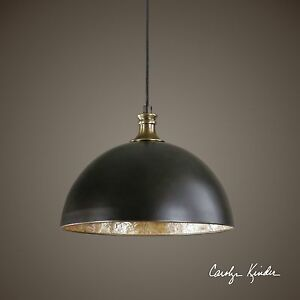 Bronze Dome Pendant Chandelier | Elegant Brass Capiz Shell Light