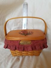New ListingLongaberger 2000 Dresden Basket with Wood Lid, Fabric&Plastic liners. Uncommon!