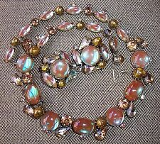 Kramer Vintage Saphiret Rhinestone Necklace & Earrings Set, Demi-Parure - HTF