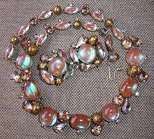 Kramer Vintage Saphiret Rhinestone Necklace & Earrings Set, Demi-Parure - HTF