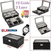 2 Layer 12 Grid Slot PU Leather Watch Box Storage Glass Display Rings Sunglasses