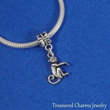 Silver Cute Monkey Dangle Bead Zoo Animal CHARM fits EUROPEAN Bracelet *NEW*