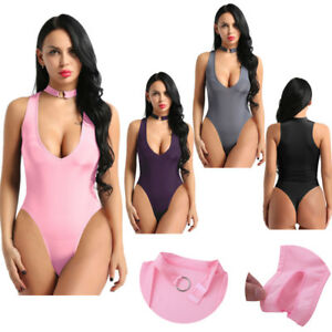 Women Sexy Lingerie Sheer Mesh Open Crotch Bodysuit Romper Teddy Leotard Top
