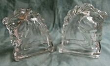 Vintage Pair of Glass Horse Head Bookends