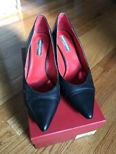 Charles Jourdan Black Kitten Heels Leather Cut out Size 9 M Pre-owned