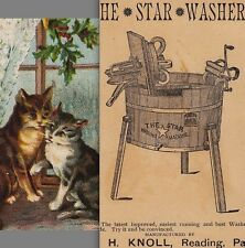Star Washer J.H. Knoll Washing Machine Reading PA Cat 1800's Advertising CARD