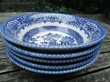 More details for vintage eit england ironstone willow  blue white cereal bowls tableware x5