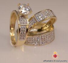 14k Yellow Gold Round Cut 2.50 Ct Diamond Trio Engagement Ring Bridal Band set