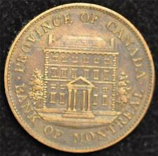 1842 Canada Token, Bank of Montreal Half Penny, AU