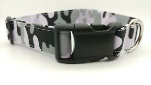 Snow Camo Dog Collar military Army Fabric camouflage puppy snowy grey gray black