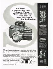 1958 Steinheil f1.9 Auto-Flash Quinon 55mm lens Exakta 35mm Camera Vtg Print Ad