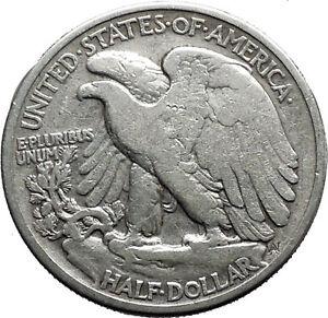 1937 WALKING LIBERTY Half Dollar Bald Eagle United States Silver Coin i44643