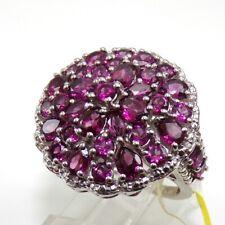 Statement 7.5gr Sterling Silver Rhodolite Garnet Diamond Accent Ring Size 7 ZP2