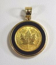 24k 1/20 Oz. Canadian Maple Leaf Coin Pendant with 14k Yellow Gold Case