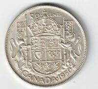 CANADA 1950 HALF DESIGN 50 CENTS HALF DOLLAR GEORGE VI .800 SILVER COIN CANADIAN