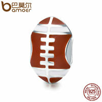 BAMOER Solid S925 Sterling silver Charm With Enamel football Sport For bracelet