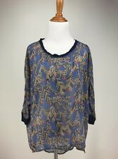 Feather Print Top S Blue Novelty Blouse Oversized Sheer High Low CHLOE K