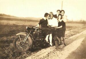 Old Vintage Antique Photo 1930s Harley-Davidson Motorcycle Hog Badass Gang Girls