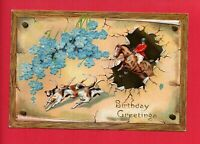 BIRTHDAY GREETINGS HOUNDS AND HORSE WINTERHALTER NORTH BALTIMORE OH  POSTCARD