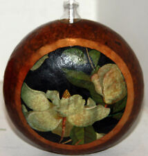gourd oil lamp or candle with magnolias