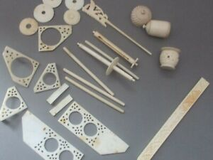 Salvaged pieces from antique Chinese sewing box,SOME PRETTY BONE MISC PIECES