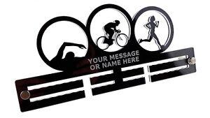 Personnalisé Triathlon Femelle Femme Fille Acrylique Médaille Support