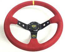 Universal 350mm Red Suede Leather Deep Dish Steering Wheel Red Stitching