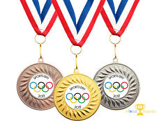 100 x Olympic School Sports Day Medals Personalised + Ribbons HIGH QUALITY