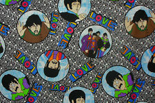 """The Beatles Fabric, 8"""" x 21"""", All U Need Is Love, Black & White, Fab Four"""