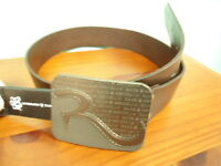 Mens Size Small Rock & Republic Brown Leather Belt w/ Logo Buckle NEW 28-30
