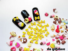 Sweet Cake Ice cream + Bow Resin 3D Nail Art Cell phone DIY Deco Cabochon #DA156