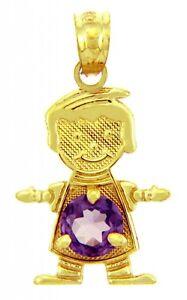 Yellow Gold February Birthstone Purple Amethyst Round CZ Baby Boy Charm Pendant