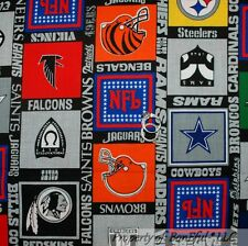BonEful FABRIC FQ Cotton Quilt NFL Boy Foot*Ball VTG ALL Team Sport RARE Stripe
