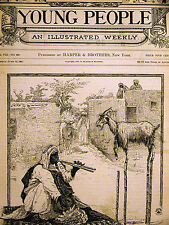 Arab Playing Wind Instrument & PERFORMING GOAT 1887 Antique Print Matted