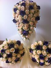 IVORY & CHAMPAGNE &VIOLET PACKAGE 8 PIECES WEDDING  BOUQUET SILK FLOWERS