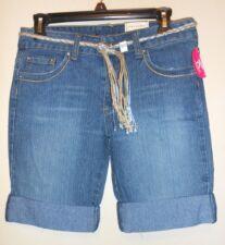 772a13c7a0 Arizona Plus Size Girls Denim Shorts Dark Stonewash + Silver Belt 10 1 2 NWT